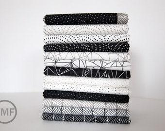 Catnip Black and White Fat Quarter Bundle, 13 Pieces, Gingiber, 100% Cotton, Moda Fabrics, 48230