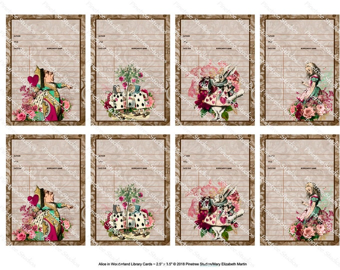 "Alice In Wonderland Library Cards (2.5""x 3.5"") ~ Digital Download ~ Printable / Journal / Gift Tag / Bookplate / Bookmark / ATC / Ephemera"