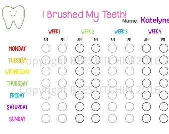 I Brushed My Teeth - Tooth Brushing Chart 4 colours PRINTABLE INSTANT DOWNLOAD