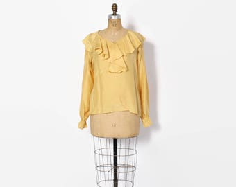 Vintage 90s Ruffled Silk Top / 1990s Golden Yellow Loose Fit Ruffle Blouse