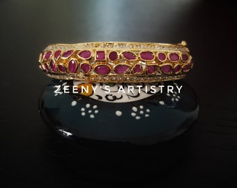 Bracelet/Bangle- 18k gold plated ruby and zircon bangle with clasp