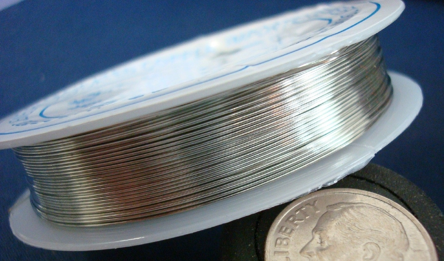 26ga Silver plated copper round wire .4mm .015 create wire wrapped ...