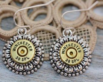 Choice 38 Special Bullet Earrings-Winchester 38 Special Earrings-WW 38 Spl Earrings-Federal 38 Spl Earrings-RP 38 Earrings-Hornady 38 Spl