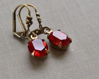 Red Siam Estate Earrings, Vintage Glass Rhinestone, Antiqued Brass Flower Lever Backs, Bridesmaid Earrings