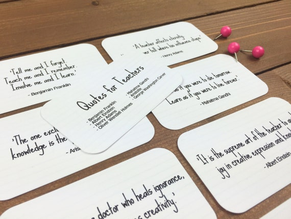 Lovely Teacher Quote Cards   Back To School Teacher Gift Ideas, Teacher Quotes,  Teacher Gifts End Of Year, Teacher Gift Basket   8 Mini Quote Cards