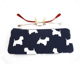 Eyeglasses case, Pouch,  Pouch with Dogs, Navy, Reading Glasses Case, Soft Glasses Case, Eyeglasses Pouch, Padded Glasses Case, Zipper Pouch