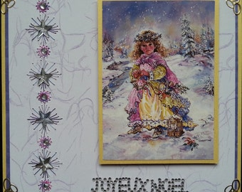 greeting card, little girl in snow