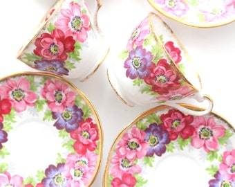 CUP AND SAUCER, Vintage Demitasse Cup & Saucer by Royal Standard, Carmen Pattern, Little Princess Tea Party, Replacement China - ca. 1960s