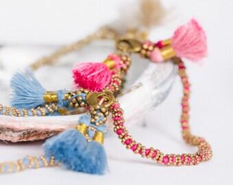 Tassel Anya Bracelet, Handmade, Gold Beading, Pink, Off White, Turquoise, Handwoven Jewellery, Everyday Jewelry, Boho Chic, Trending, JO1