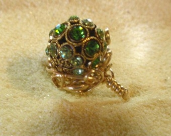 TALL ring...12 mm Emerald green and Peridot crystals stud a bead mounted in 14K Gold Filled filigree wrap.  6 1/2