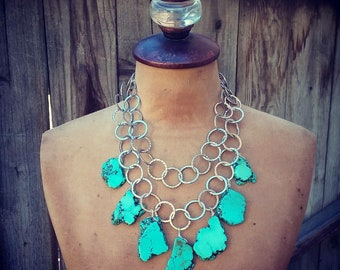 Cowgirl Charm Necklace~ Turquoise & Silver