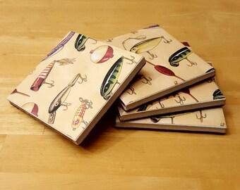 Coasters, Fishing Decor, Coaster Set, Tile Coasters, Housewarming Gift, Home Decor, Gift Idea, Ceramic Tile Coasters, Birthday Gift