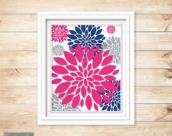 Navy Blue Pink Floral Flower Burst Wall Art Gray Bathroom Bedroom Livingroom Nursery Decor Printable 11x14 Digital JPG Instant Download (46)