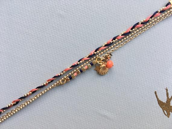 Raiponce - Bracelet triple et tresse fils de soie