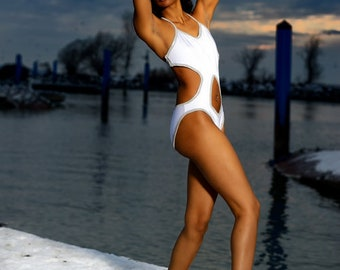 White One Piece Swimsuit with Midriff Cutout and Silver Trim