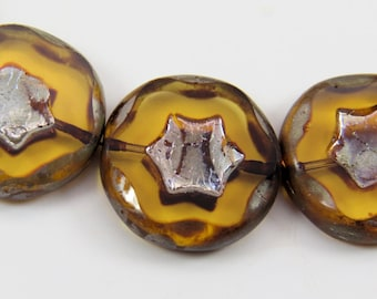 Transparent Amber Star Coin Beads Metallic Silver Travertine Premium Czech Glass 4 Beads PTCSTARRD003
