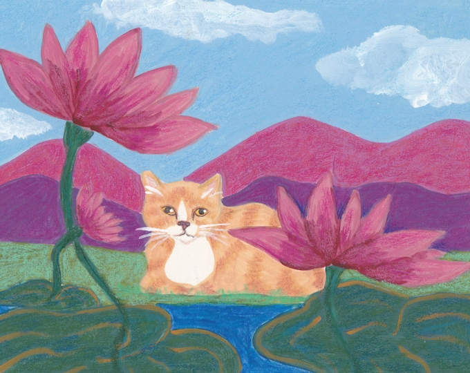Zen Lily Pad Cat blank card