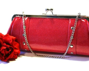 Hot Pink Vinyl Clutch with Your Choice of Trim - MADE TO ORDER