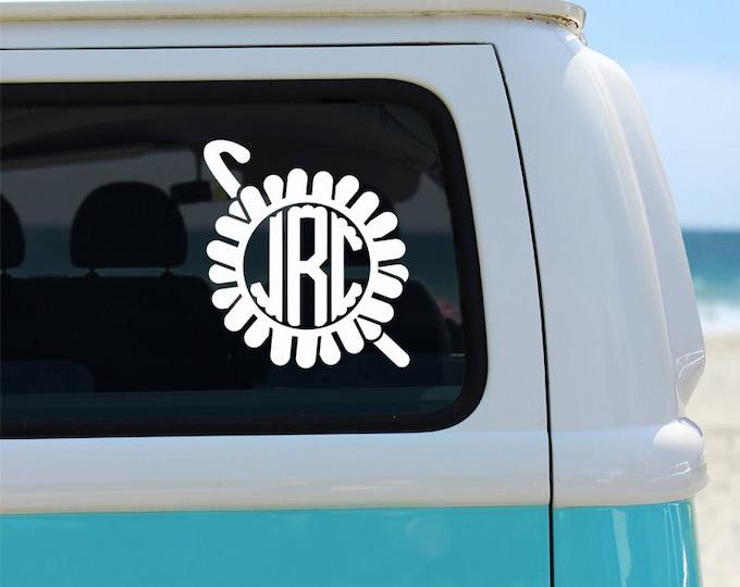 Crochet Lovers' Monogram Vinyl Window Decal - Car Sticker - Craft Decal - Crochet Decal - Monogram Decal - Car Decal - Monogram - Crochet