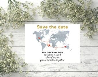 World map wedding etsy save the date destination wedding card world map wedding save the date travel theme travel wedding gumiabroncs Choice Image