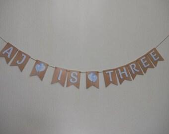Birthday Bunting, THIRD Birthday, 3rd Birthday, ...is THREE, with BALLOONS
