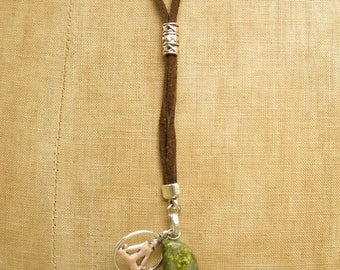 Unakite Long Necklace & Yoga Charm, Aries Zodiac, Inspiration Stone, Unakite Lariat, Long Necklace Gift For Her, Stone Of Vision Spiritual