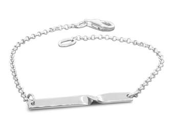 Sterling Silver Mobius Bar Bracelet Gift for Her - Dainty Bracelet - Infinity Bracelet - Best Friend Bracelet - Sister Bracelet