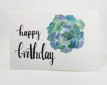 Happy Birthday Succulent Card (BLANK inside)