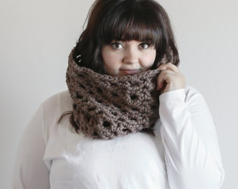 Chunky Cowl Scarf Lace Warmer | THE BRIAR in Barley