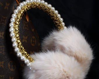 TINA Pearls  Fur Ear Muffs, Ear warmer, jeweled earmuffs, rhinestone earmuffs,Fur earmuffs, Crystal fur earmuffs, Gift for her, Earwarmer