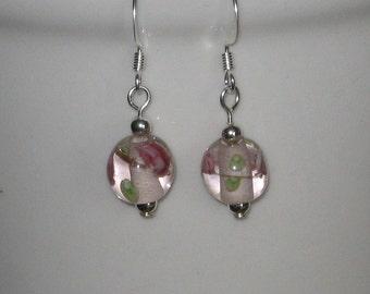 Pink Floral Lampwork Bead Earrings