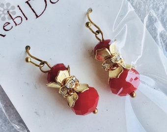Clearance - Red crystal earrings