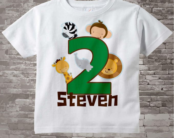 Boy's Two Year Old Jungle Birthday Shirt or Onesie with Name, 2nd Birthday Shirt, Personalized Jungle Birthday Theme 11132014a