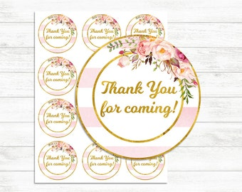 Printable Thank you Tags, Pink and Gold, Thank you for coming Labels, stickers, Thank you, printable Stickers, Floral Gold Baby shower Girl