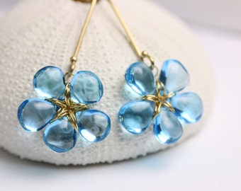 Blue Topaz Earrings, Swiss Blue Topaz, Gift for Her