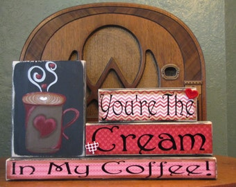 Valentines Day Decor, Valentines Day Sign,  Coffee Sign, Coffee Lover Gift, Coffee Word Art,  Valentines Day Word Art, Valentine Blocks
