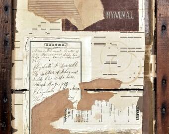Hymnal Collage * original art * mixed media * rustic * wall art * OOAK