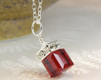 Garnet Red Cube Necklace, Swarovski Crystal Pendant Sterling Silver, Bridesmaid Wedding Jewelry, January Birthday, Birthstone Christmas Gift