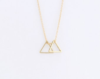 Double Small Triangle Necklace (brass) on a 14k Gold Filled Chain — minimal geometric necklace