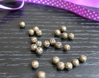 20 beads metal bronze filigree to make bracelets