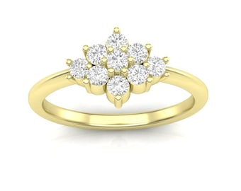 Yellow Gold Fashion Ring Multistone Ring Cluster Top Halo Ring Delicate 14K .38ct Round Diamonds 9, 2.2mm I, I Quality Authentic Diamonds