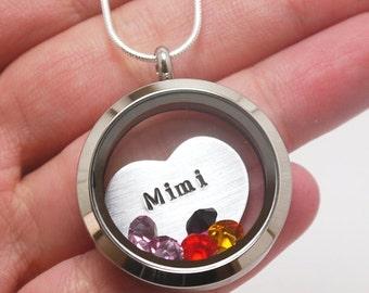 Mimi Necklace, Mimi Heart Locket, Grandma Necklace, Personalized Grandma Locket, Grandchildren Birthstone, Nana, Nonnie, Grammie, Grammy
