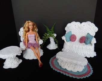 Crochet Barbie Doll Furniture, White 12pc. Veranda