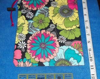 Bright Floral Handmade Drawstring Bag