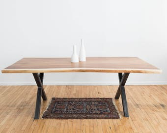Guanacaste Live Edge Dining Table | Contemporary Dining Room | Exotic Wood |  Scandinavian Style | Modern Rustic Industrial | Perota Woo