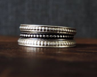 Sterling Silver Stacking Ring Band   Phat Stax - Diva   Pattern Design, Antiqued Oxidized Patina, Single Band, Custom // Made to Order