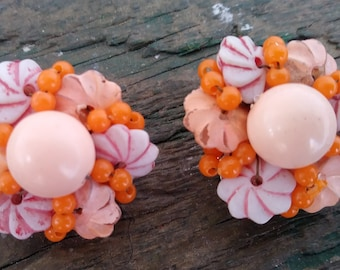 Vintage beaded cluster clip ons