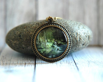 "1"" Round Glass Pendant Necklace or Key Chain - Forest with Stream"