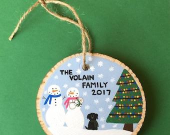 Custom Family ornament - custom ornament - wood slice ornament - snowman family - family name - personalized ornament