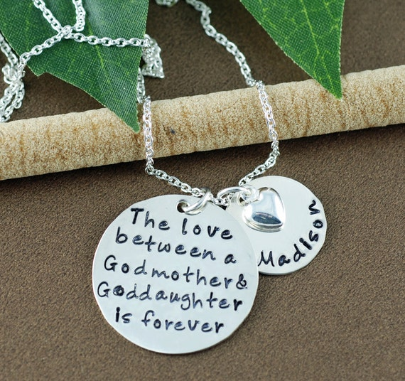 The love between | Godmother & Goddaughter Necklace | Hand Stamped Necklace | Godmother Jewelry | Personalized Jewelry | Gift for GodMother